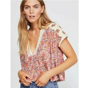 Free People Womens Top Floral Cropped Natural M